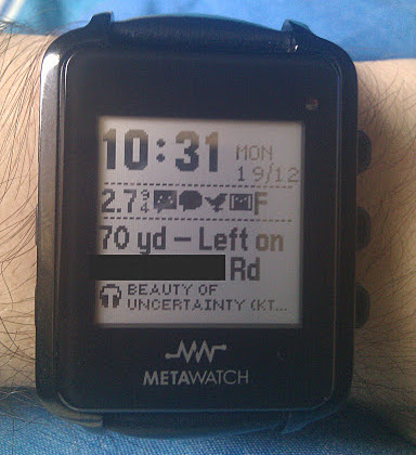 My watch, showing several Android notifications