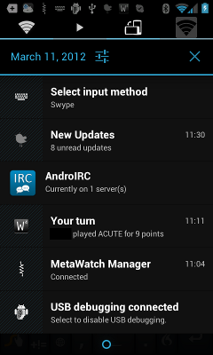 Android notification drawer, full of icons