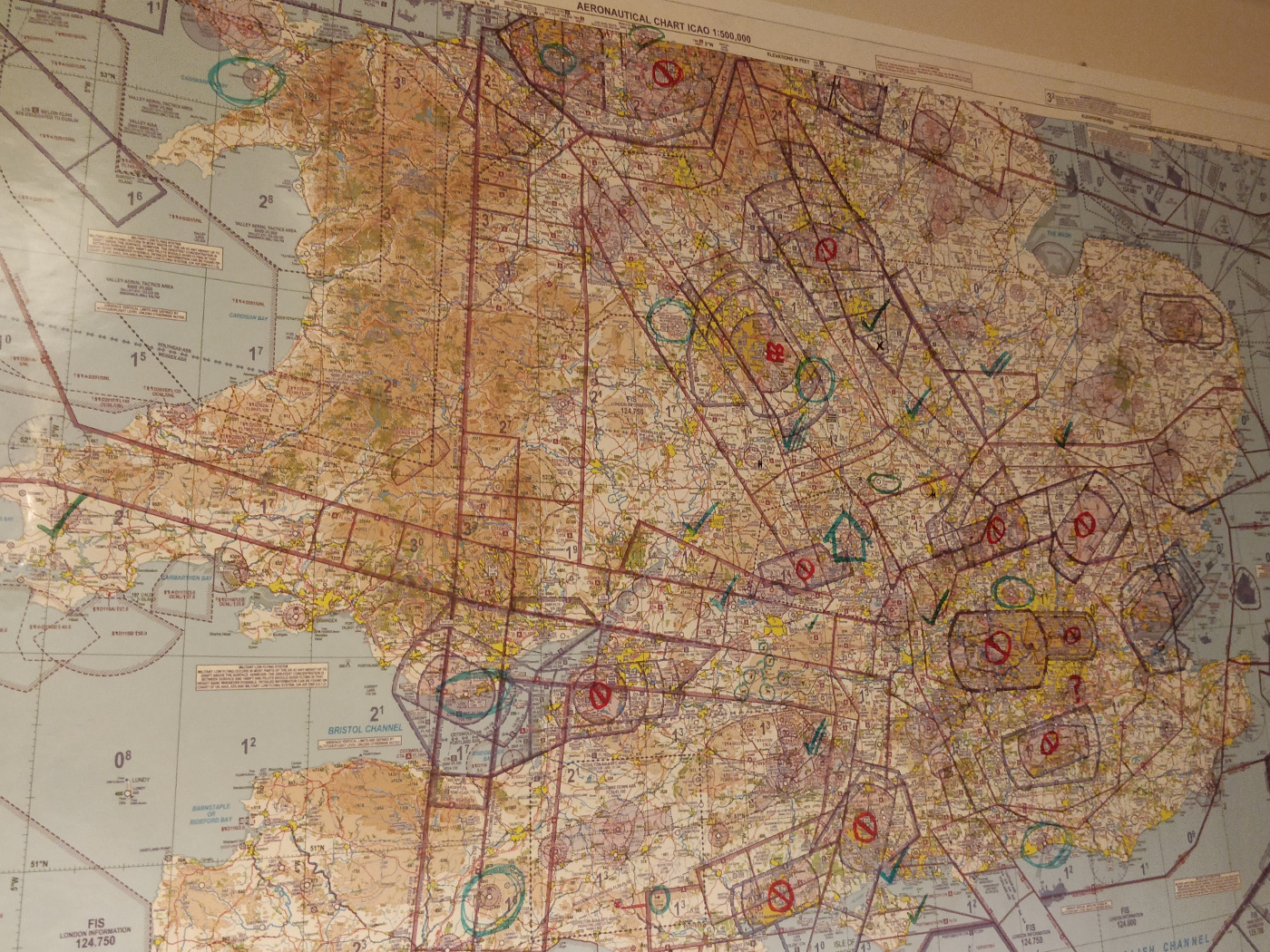 Chart on my wall with lots of airfields circled in marker pen