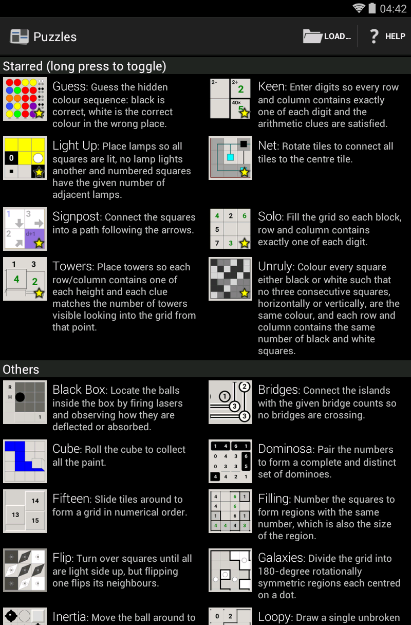 Screenshot of list of puzzles, part 1